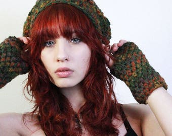 SET Fall ombre Rasta love slouch hat fingerless gloves chunky sage cranberry amber