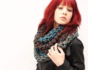 WATER Rasta Love Cowl Hood Vegan scarf Turquoise Blue earth Brown