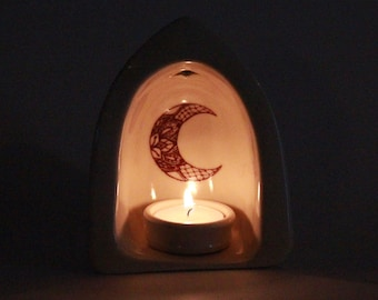 Manifest your intentions meditation yoga altar candle holder clay decor ivory Lace Moon