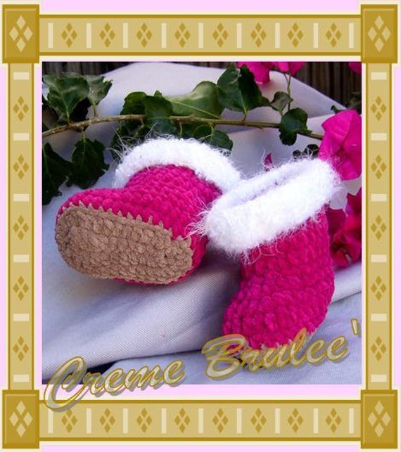 Creme Brulee Cute as a Button HUGGS Bootie 3 Sizes - Baby Bootie -Avail in 4 COLORS for Boys Too-FREE Shipping