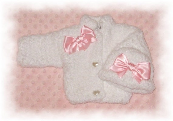 Creme Brulee Soft Fleece Chenille Sweater & Hat -5 Infant Sizes including Preemie-FREE Shipping