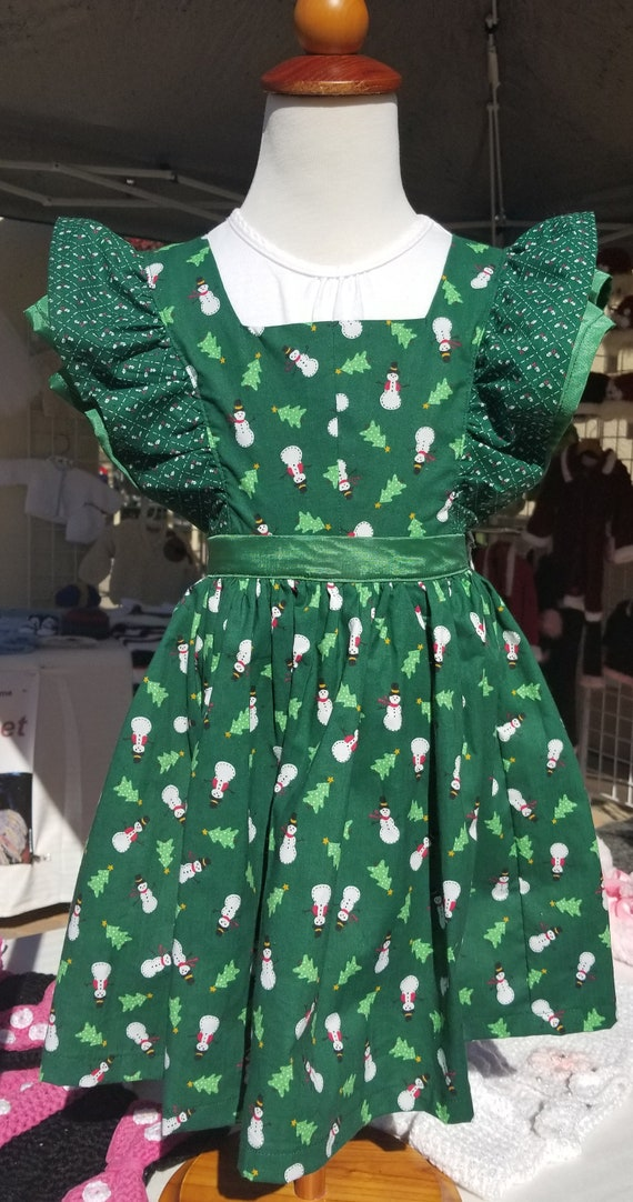 Christmas Pinafore -Snowmen 3 Children's Sizes -Free Shipping