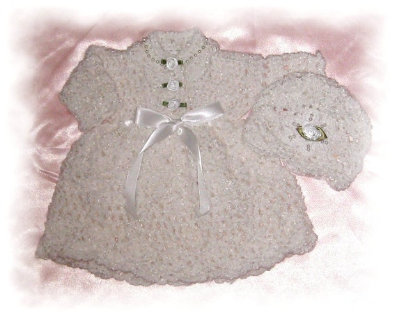 Creme Brulee Beaded Christening Gown Newborn or Preemie or Micro-preemie