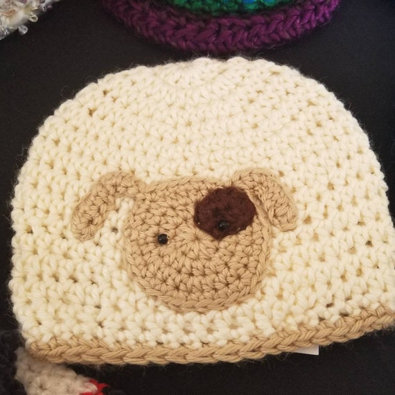 Puppy baby hat...soft soy yarn 3 sizes