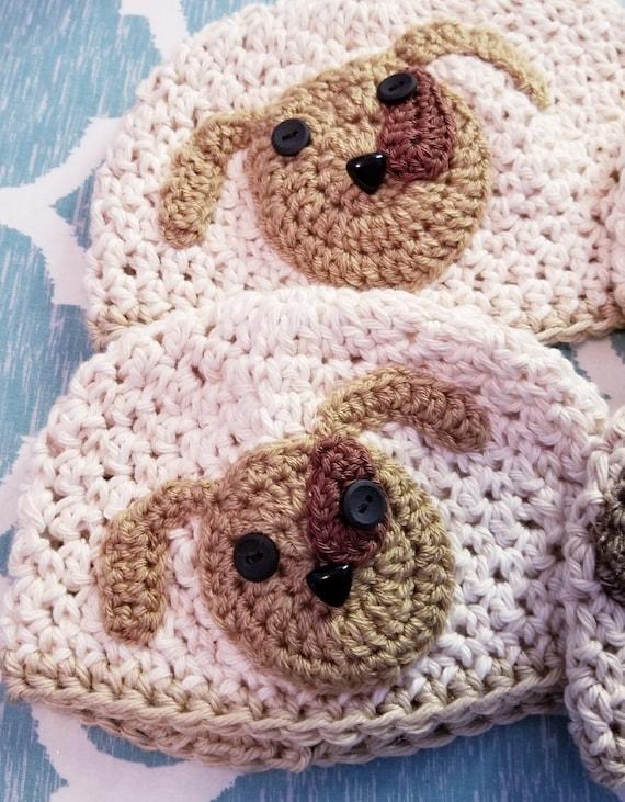 Puppy baby hat...soft washable cotton yarn 3 sizes