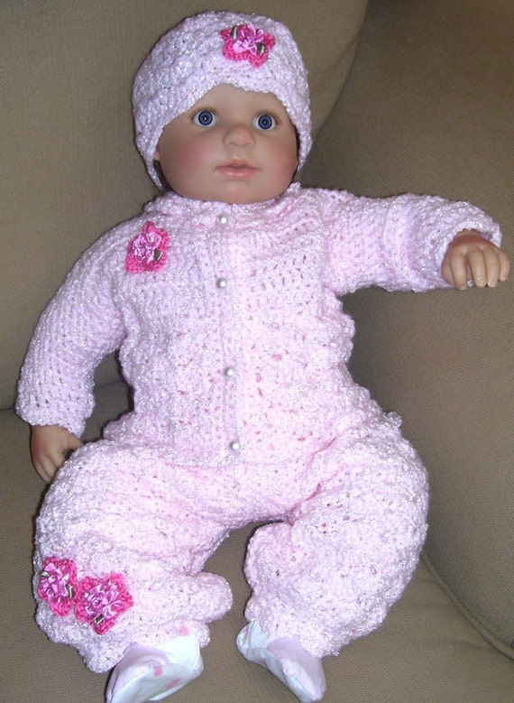 Creme Brulee -3 Piece Pink Rosebud Layette for Newborn to 3 months-With long pant for Winter Chill