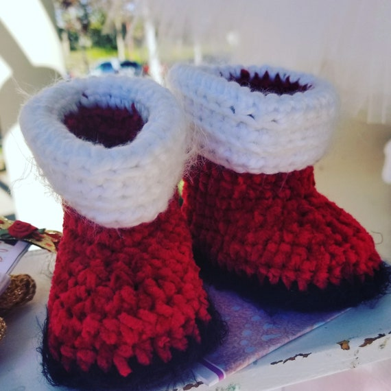 Santa Booties - Hand crocheted velvet chenille- 2 baby sizes and Toddlers Too
