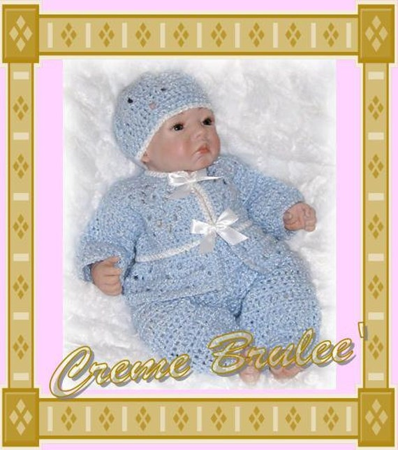 Creme Brulee Boys Layette with Pants for the Cold Weather-SIZE 3-6 mo or choose one of 4 infant sizes including PREEMIE
