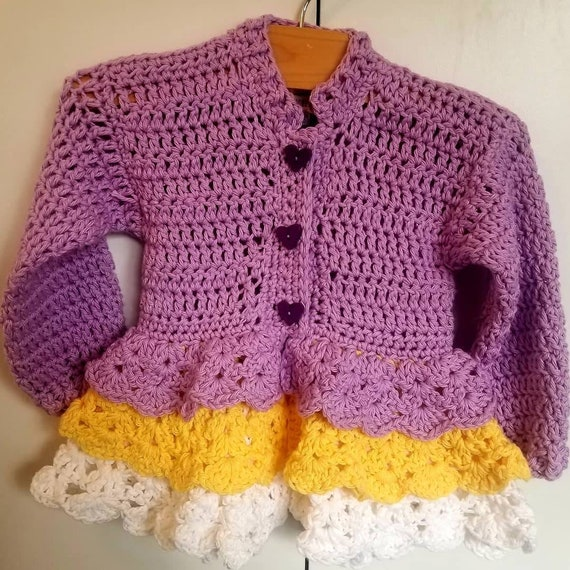 Creme Brulee Victorian Inspired Ruffled Toddler Crochet Coat