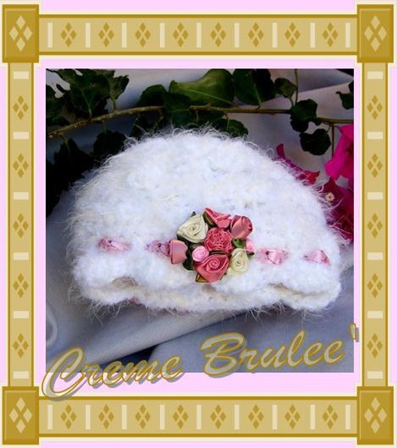 Creme Brulee Shabby Chic for Baby Girl-ELEGANT-Fuzzy white hand crocheted luxury with satin roses-5 sizes-FREE Shipping