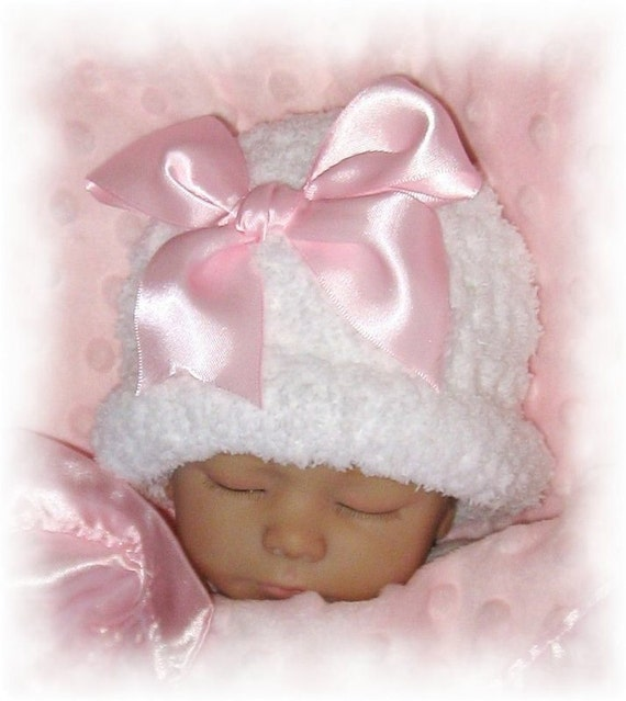 Creme Brulee Winter Warmth -Snowball Fleece Crocheted Hat for Baby