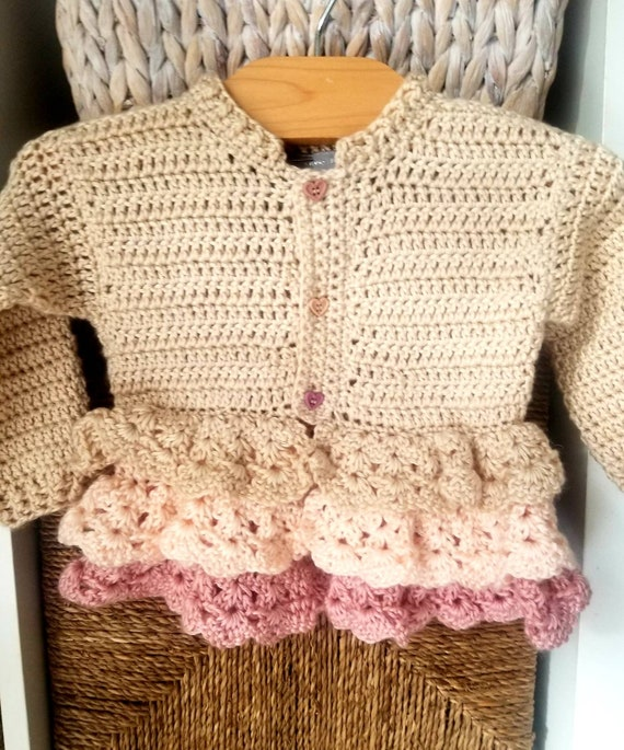 Creme Brulee Victorian Inspired Crocheted Baby and Toddler Coat.