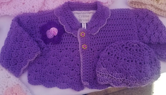 Creme Brulee' Crochet-elegant and delicate sweater set for baby up to 12 months