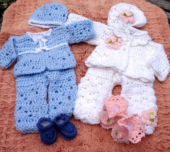 Ultimate Shower Gift Set for TWINS - full boy and girl layette with sweater,pant, hat and booties