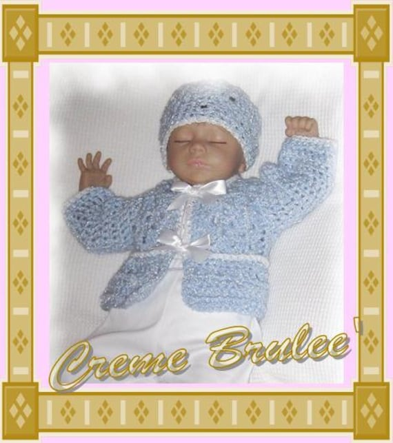 Creme Brulee' Baby Boys Sweater and Hat Set - Four Infant Sizes - Preemie and Newborn - Baby Boys Sweater Set