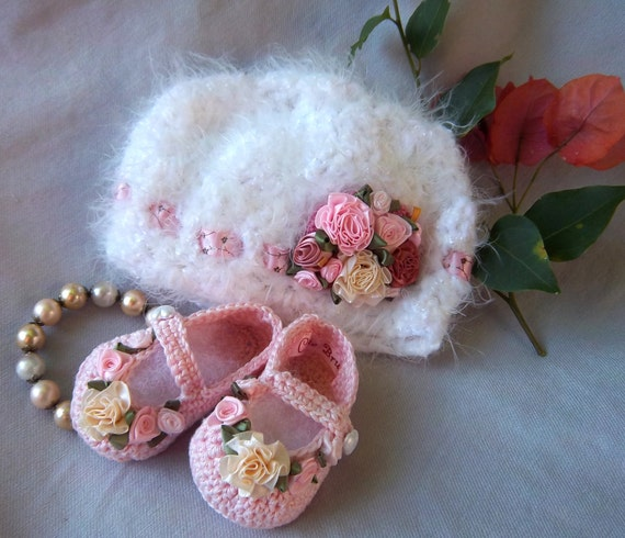 Booties and Hat -Creme Brulee Shabby Chic Luxury for Preemie or infant- FREE Shipping