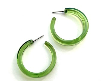 Prickly Pear Bright Green Transparent Lucite Lola Hoop Earrings   Acrylic Hoops by Leetie