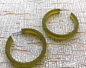 Olive Green Frosted Classic Hoop Earrings Chartreuse Avocado classic vintage lucite hoops