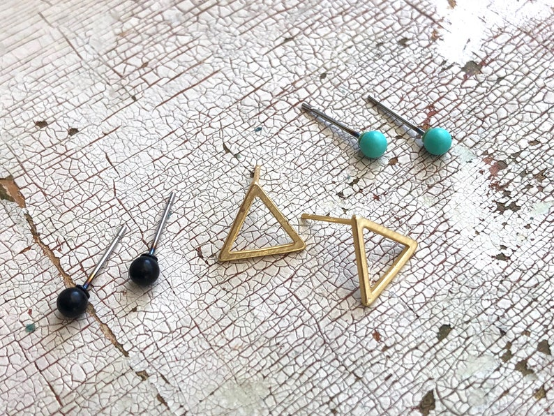Minimalist Earring Set Mint Stud Earrings Girlfriend Gifts Tiny Geo Studs Black Studs Gold Earrings