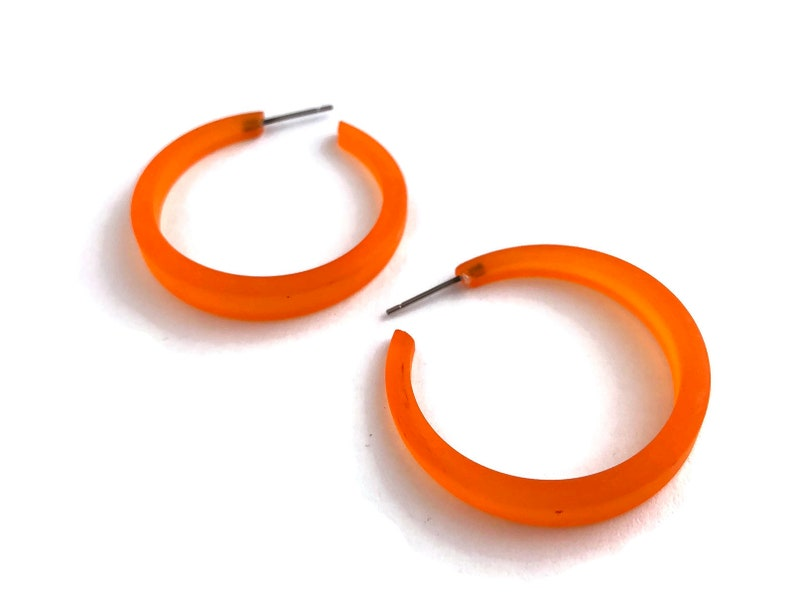 Sustainable Jewelry Tapered Narrow Hoops Made with Vintage Upcycled Plastics Orange Phoenix Hoop Earrings Frosted Vintage Hoops