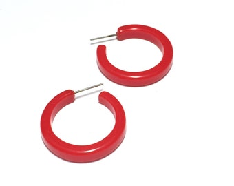 Bright Red Hoop Earrings | Fire Engine Red Pin Up Hoops | vintage  lucite hoop earrings