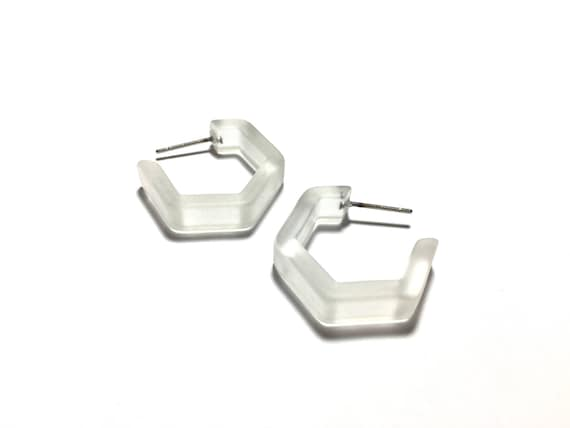 Lavender Honeycomb Hoop Earring Geometric Hex Frosted Lucite Hoops