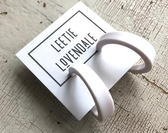 White Hoop Earrings   Vintage Style Acrylic Lola Hoops with Surgical Steel posts   Leetie Lovendale