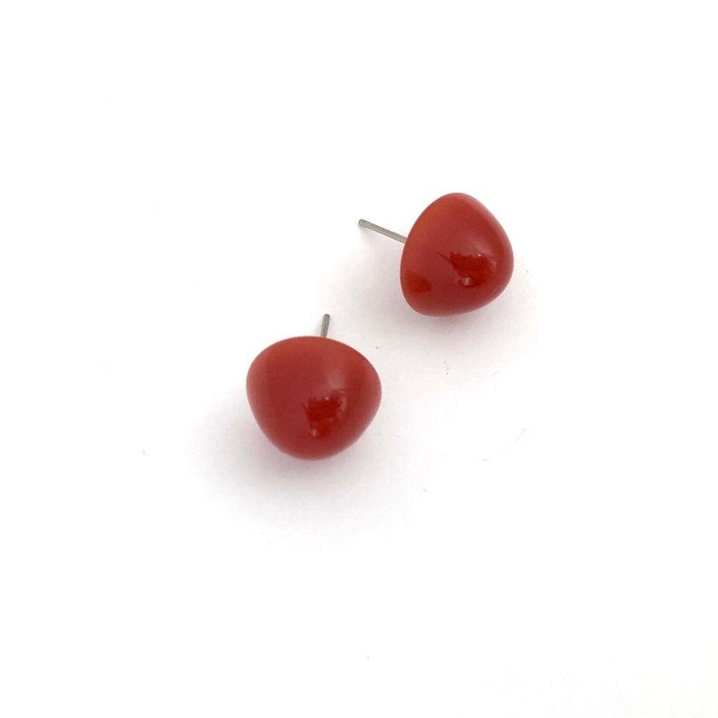 Carnelian Gumdrop Stud Earring Vintage Lucite Button Jewelry