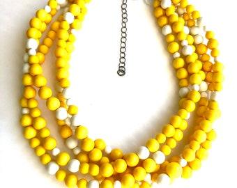 Sunshine Yellow & White Beaded Sylvie Statement Necklace   Vintage Lucite Sylvie Multi Strand Statement Necklace