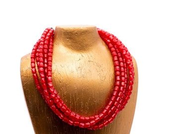 Cherry Red Moonglow Barrel Bead Sylvie Necklace   Lucite Sylvie Multi Strand Statement Necklace