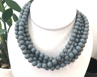 Grey Lucite Beaded Sylvie Statement Necklace   Sustainable Jewelry Line with Vintage Parts Leetie Lovendale