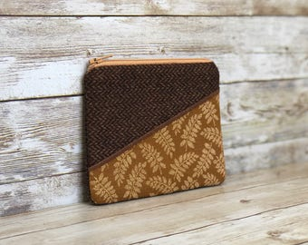 change purse, small zipper pouch, coin purse, coin pouch, zipper change purse, zippered coin pouch, fern leaf, tweed pouch, upcycled bag