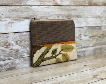 coin pouch zippered coin pouch upcycled bag coin purse green leaves change purse zipper change purse small zipper pouch