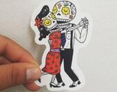 Dancing Calaveras Clear Die Cut Vinyl Sticker