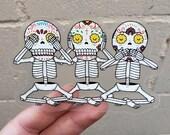 Three Wise Calaveras Die Cut Clear Vinyl Sticker