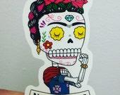 No Te Rajes Riveter Calavera Clear Vinyl Sticker Day of the Dead