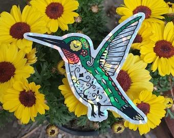 Hummingbird Holographic Die-cut Sticker