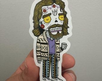 Dude Lebowski Clear Calavera Die Cut Vinyl Sticker