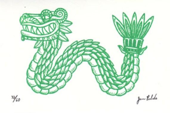 Serpiente Emplumada Quetzalcoatl Limited Edition Gocco Etsy