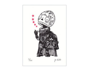 Unmasked Darth Vader Calavera Limited Edition Gocco Screenprint Day of the Dead Art