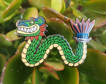 Quetzalcoatl Feathered Serpent Enamel Pin by Jose Pulido