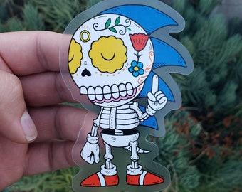 Sonic Calavera Clear Vinyl Sticker Day of the Dead