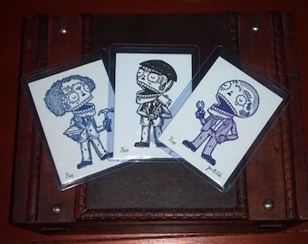 Three Stooges Calaveras Limited Edition Gocco Screenprints ACEO Set