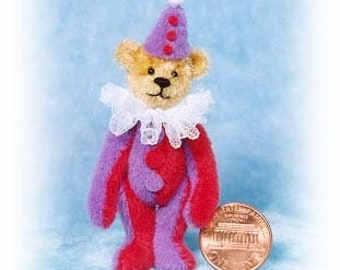 "PDF Pattern & Instructions for Miniature Teddy Bear - DIY - Clown Bear 2 1/2"" tall -  by Emily Farmer"