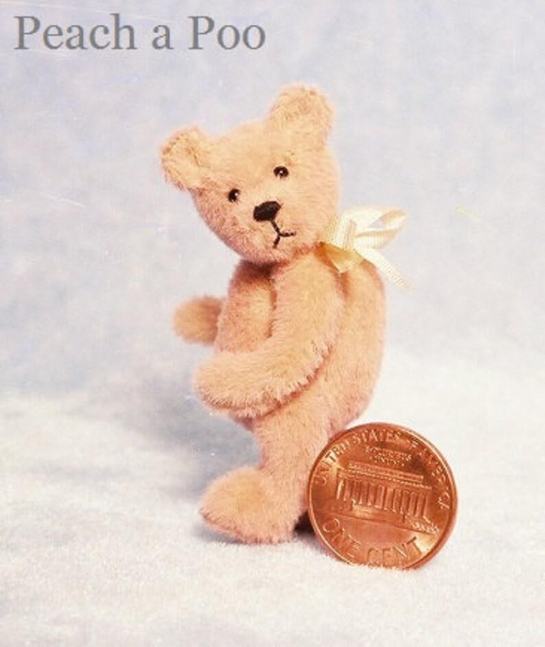 Peach-A-Poo  Miniature Teddy Bear Kit  Pattern  by Emily image 0