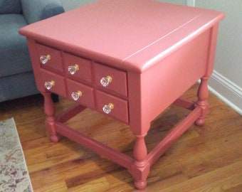 Beautiful Terra Cotta Colored Hand Painted Vintage Solid Wood End Table