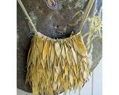 Upcycled and FULL Fringed - BoHo Leather - Recycled Leather Leaf Design