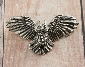 Great Horned Owl Sterling Silver Pendant handmade in the USA Bird Necklace