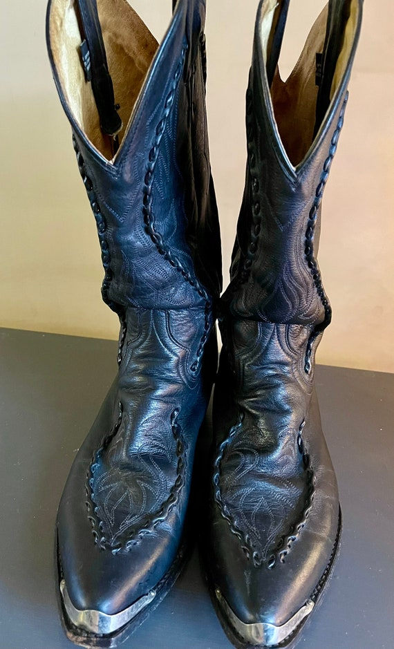 Vintage 1970s Black Leather Cowboy Boots