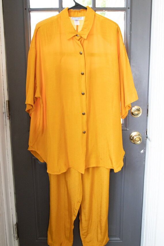 Vintage 1990's Two Piece Canary Yellow Lounge-Wear